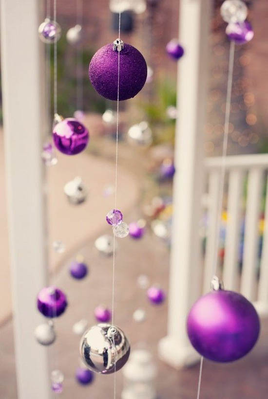 Christmas purple and silver balls #Christmasdecor #purple #Christmas #decorhomeideas