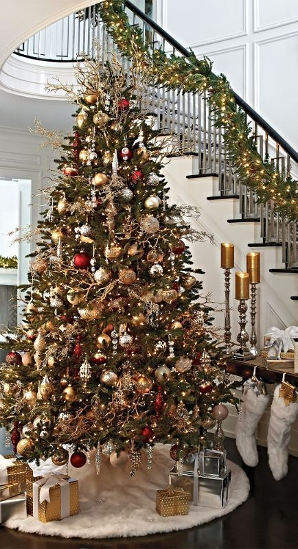 Classic Christmas Tree Staircase Decoration #Christmasdecor #staircase #stairs #stairway #Christmas #decorhomeideas