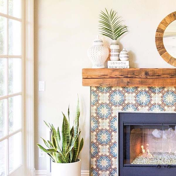 Colorful Tiled Fireplace #fireplace #fireplacedesign #tile #fireplacetile #decorhomeideas