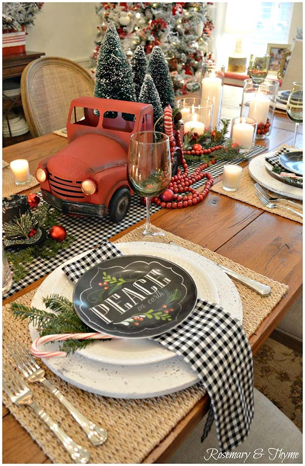 Farmhouse Christmas Table Decor #farmhouse #Christmas #Christmasdecor #farmhousedecor #decorhomeideas