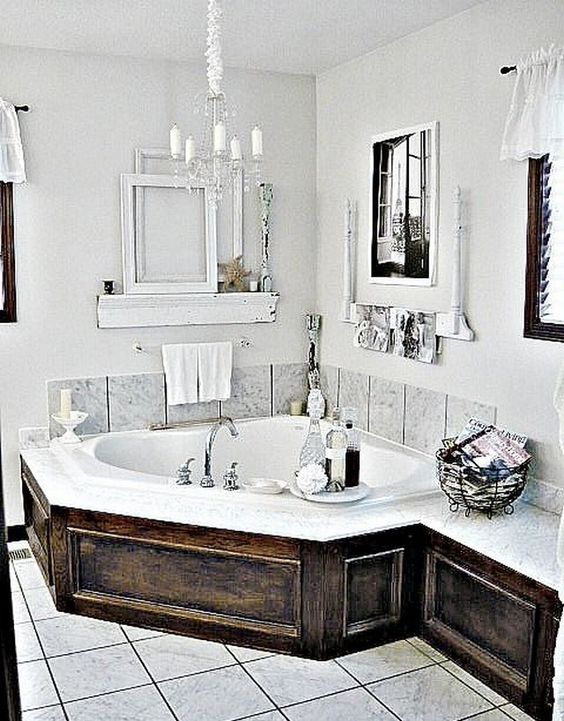 Farmhouse Drop-In Tub Ideas #dropintub #bathtub #tub #ideas #decorhomeideas