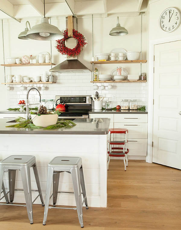 Farmhouse Open Shelves Christmas Kitchen #Christmas #Christmasdecor #kitchen #Christmaskitchen #decorhomeideas