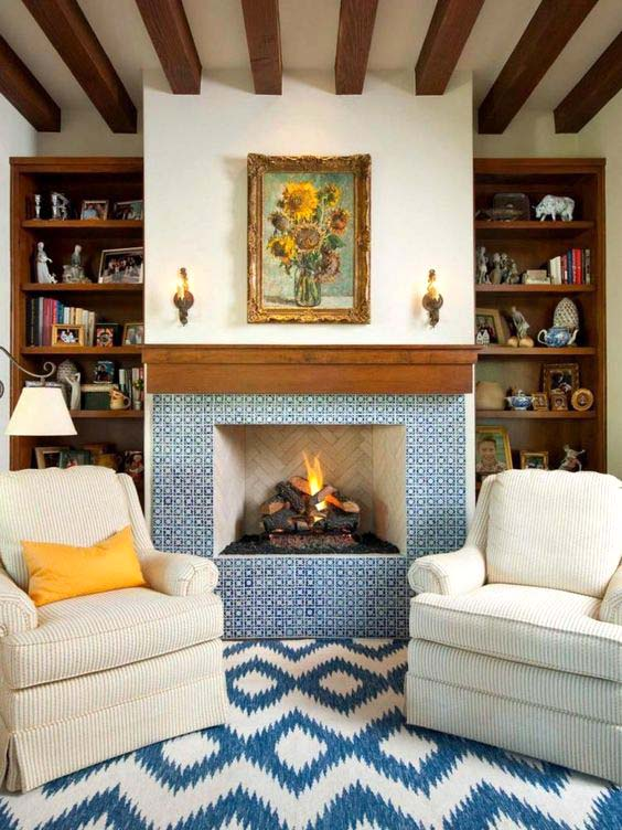 Fireplace Tiles Ideas In Blue #fireplace #fireplacedesign #tile #fireplacetile #decorhomeideas