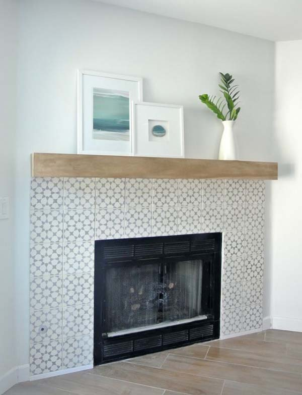 Fireplace cement tiles ideas #fireplace #fireplacedesign #tile #fireplacetile #decorhomeideas