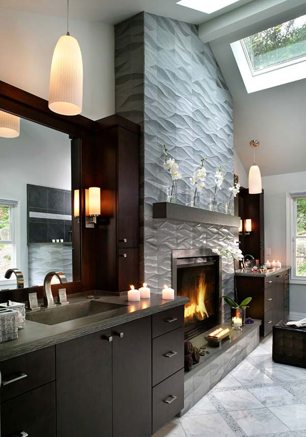Fireplace tile ideas textured design #fireplace #fireplacedesign #tile #fireplacetile #decorhomeideas