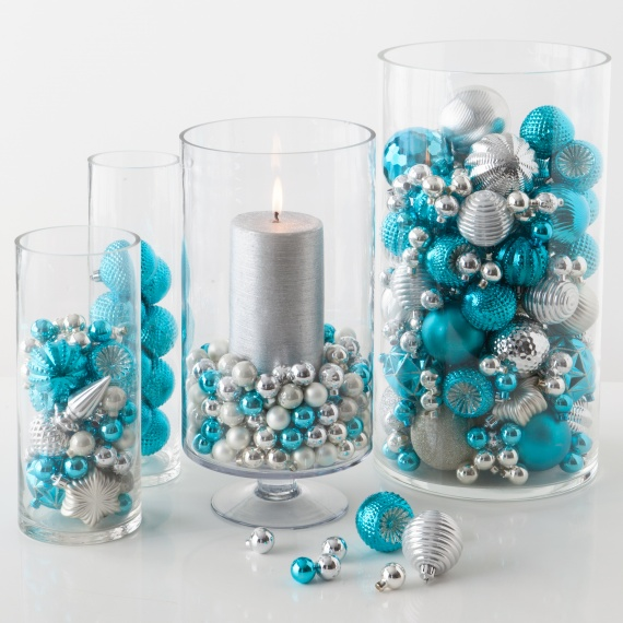 Glass Ball Christmas Ornaments #Christmas #Christmasdecor #blue #silver #turquoise #decorhomeideas