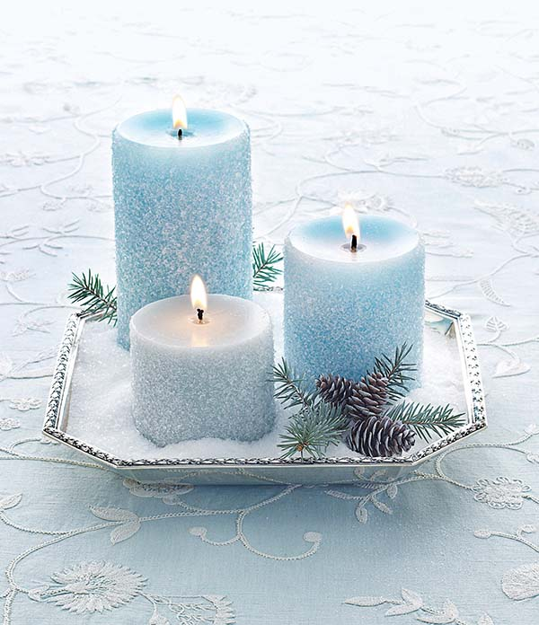 Glitter turquoise Christmas candles #Christmas #Christmasdecor #blue #silver #turquoise #decorhomeideas