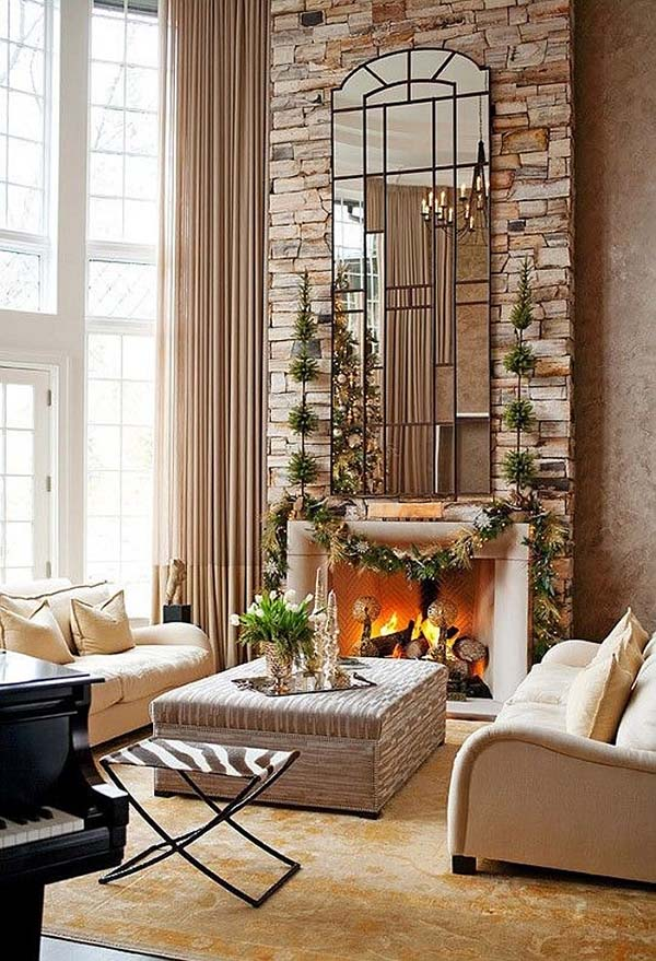 High Ceiling Living Room Christmas Decor #Christmasdecor #Christmas #livingroom #decorhomeideas