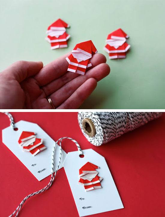 Make Origami Santas for Gift Tags and Ornaments #Christmas #Christmasdecor #budget #diy #decorhomeideas