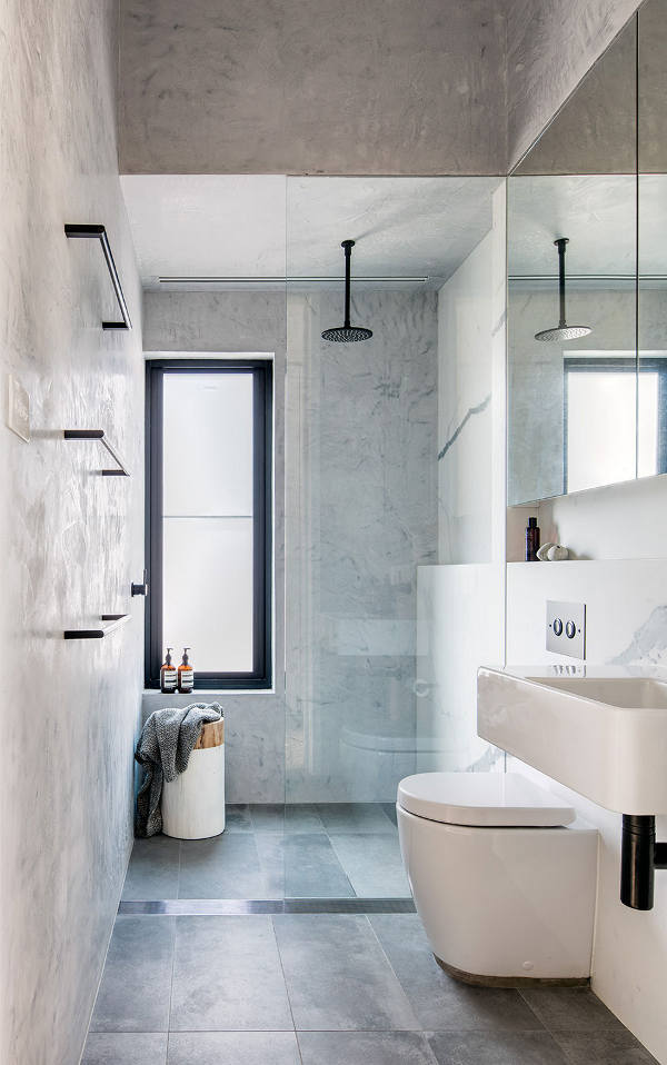 Modern Narrow Bathroom With Grey Tiles #bathroom #narrow #narrowbathroom #decorhomeideas