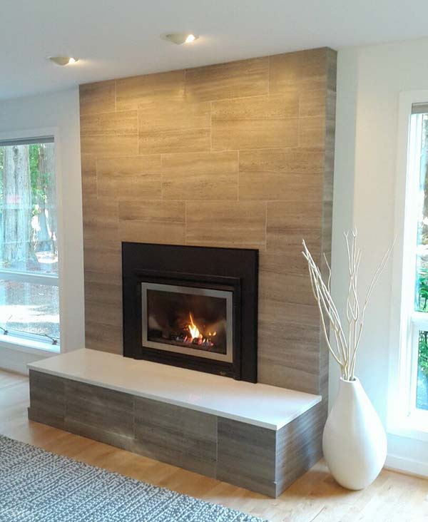 Modern fireplace tile ideas #fireplace #fireplacedesign #tile #fireplacetile #decorhomeideas