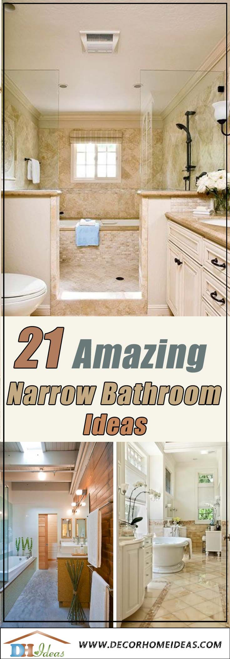 Narrow Bathroom Ideas #bathroom #narrow #narrowbathroom #decorhomeideas