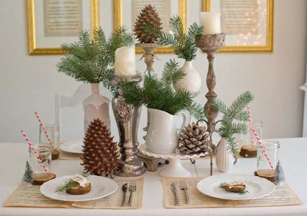 Nature Inspired Christmas Centerpiece #Christmas #Christmasdecor #nature #natural #natureinspired #decorhomeideas