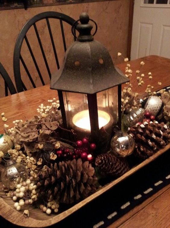 Old world Lantern Centerpiece