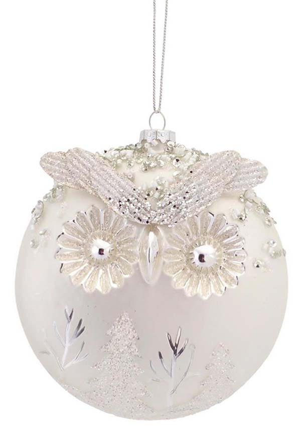 Owl Christmas Ornament #Christmasdecor #Christmas #white #whitechristmas #decorhomeideas