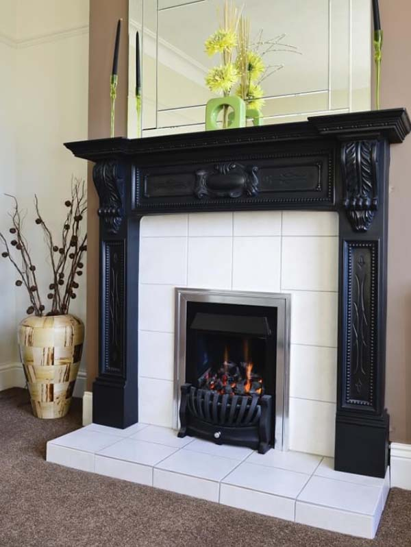 Plain Tiled Fireplace Ideas #fireplace #fireplacedesign #tile #fireplacetile #decorhomeideas