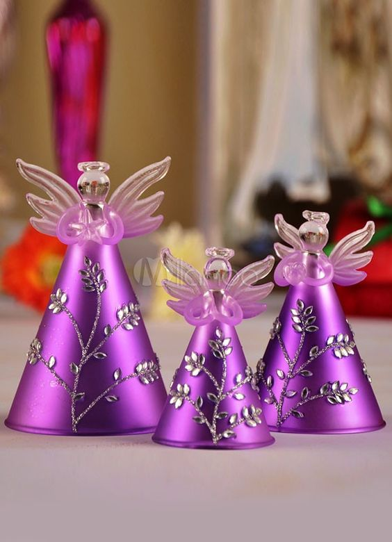 Purple Christmas Angels #Christmasdecor #purple #Christmas #decorhomeideas