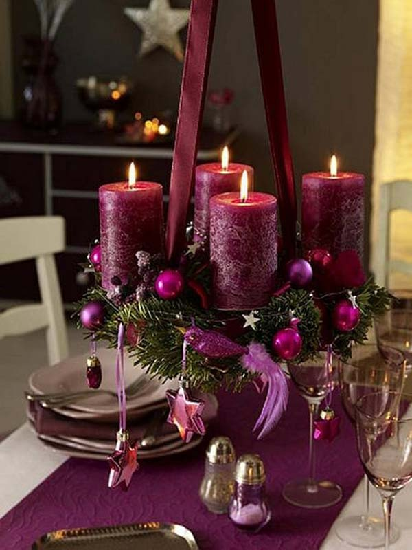 Purple Christmas Centerpiece With Candles #Christmasdecor #purple #Christmas #decorhomeideas