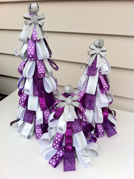 Purple Christmas Ribbon Tree #Christmasdecor #purple #Christmas #decorhomeideas