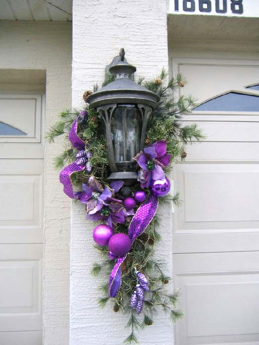 Purple Christmas Wall Lantern #Christmasdecor #purple #Christmas #decorhomeideas