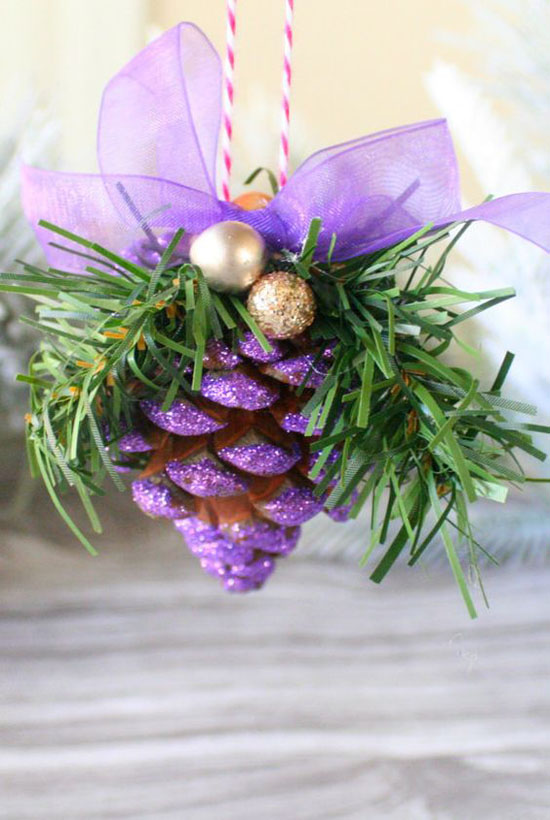 Purple Glitter Christmas Tree Ornament #Christmasdecor #purple #Christmas #decorhomeideas