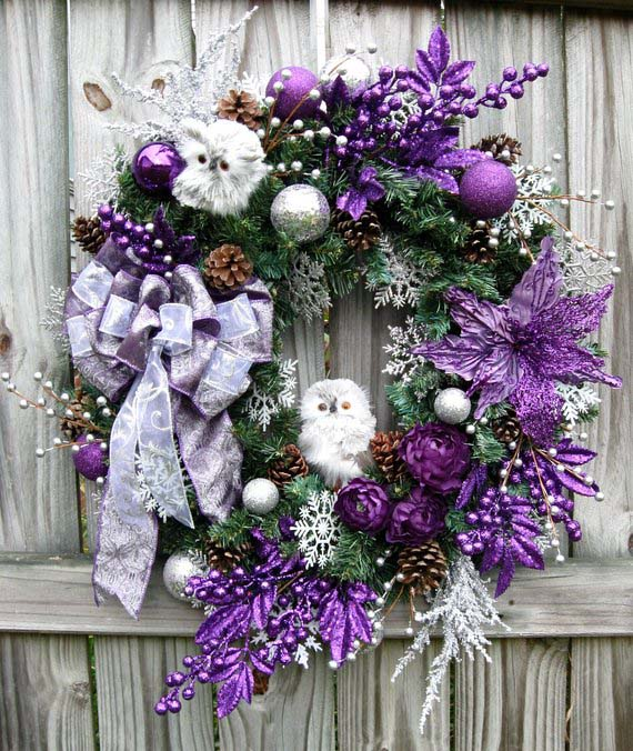 Purple and Silver Owl Christmas Wreath #Christmasdecor #purple #Christmas #decorhomeideas
