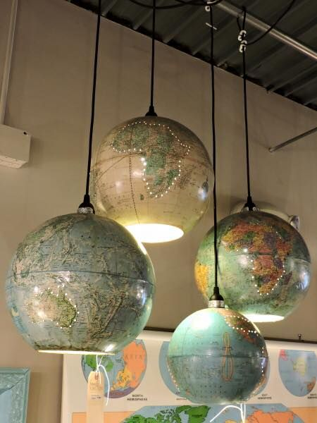 Recycled Vintage Globes Pendant Lights