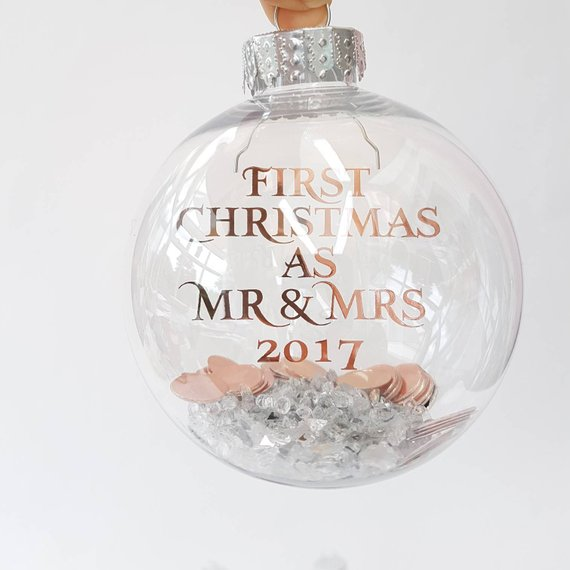 Rose Gold Christmas Tree Glass Ornament #rosegold #Christmas #Christmasdecor #rosegolddecor #decorhomeideas
