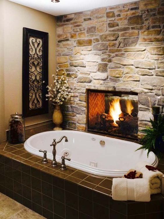 Rustic Bathroom Tub With Fireplace