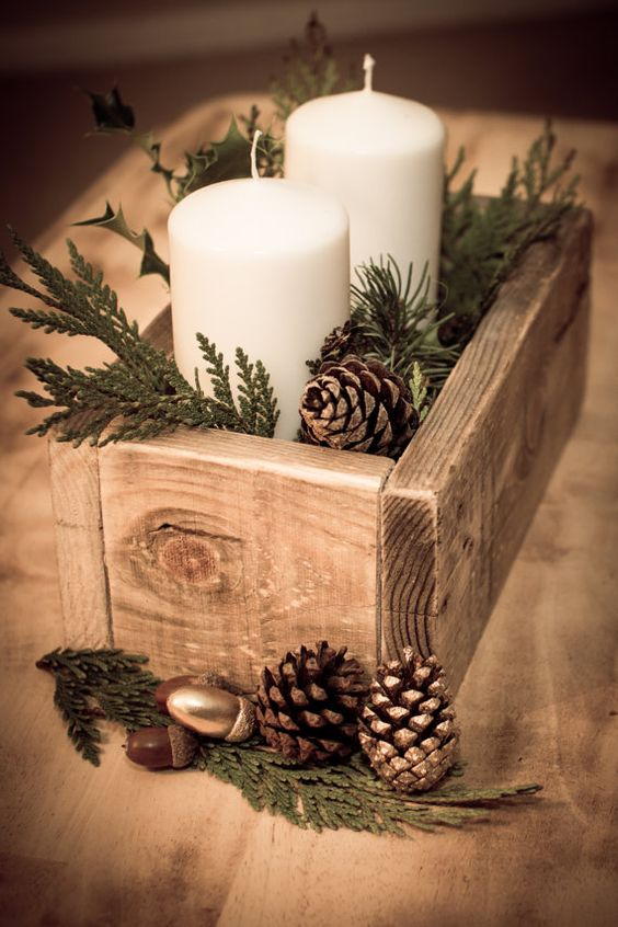 Rustic Container Box Candle Decoration
