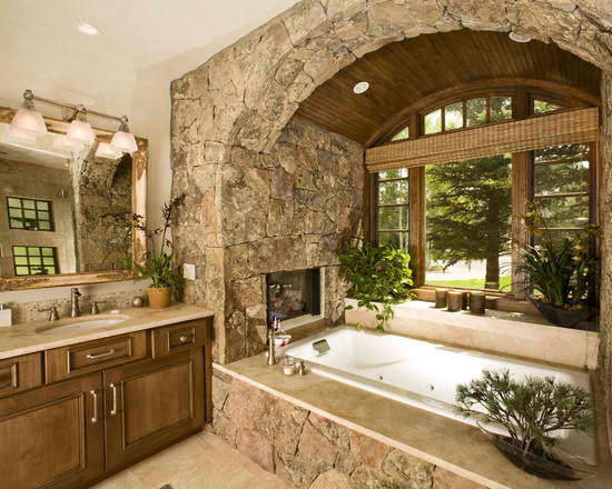 Rustic Decor Drop-In Tub #dropintub #bathtub #tub #ideas #decorhomeideas