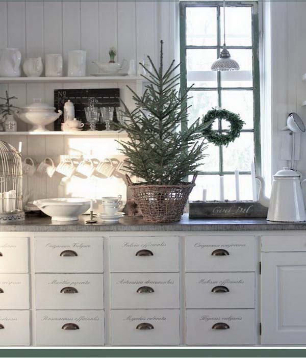 Rustic Kitchen Christmas Decor #Christmas #Christmasdecor #kitchen #Christmaskitchen #decorhomeideas