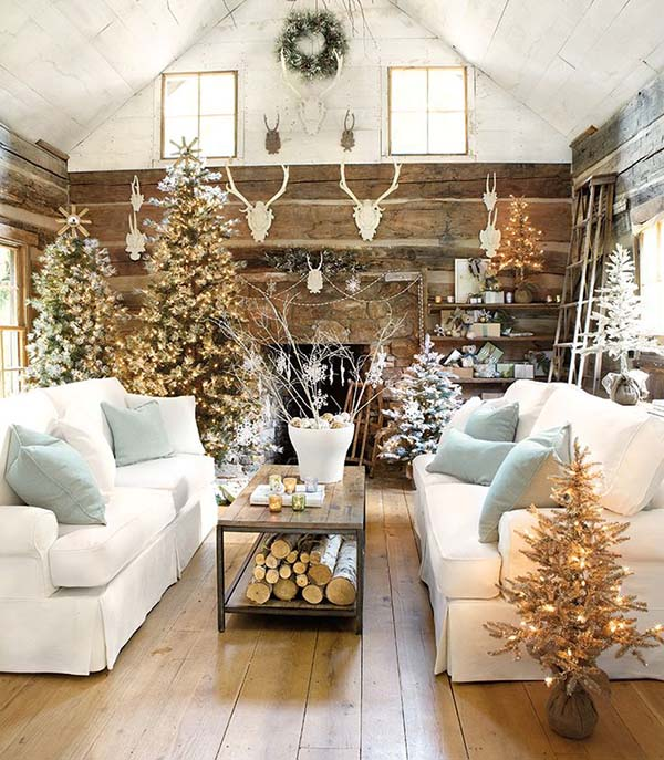 Rustic Living Room Christmas Decor #Christmasdecor #Christmas #livingroom #decorhomeideas