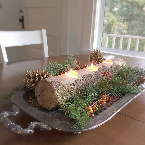 Rustic Log Candle Holder Christmas Centerpiece