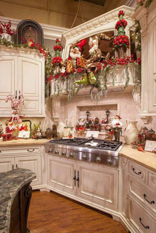 Santa Claus Themed Christmas Kitchen #Christmas #Christmasdecor #kitchen #Christmaskitchen #decorhomeideas