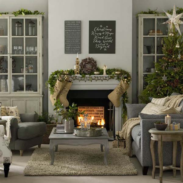 Scandinavian Christmas Decorated Living Room #Christmasdecor #Christmas #livingroom #decorhomeideas