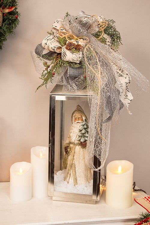 Silver Lantern Christmas Decoration #Christmas #centerpieces #Christmasdecor #decorhomeideas