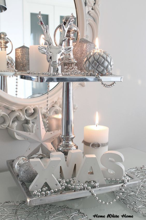 Silver White Christmas Centerpiece #Christmasdecor #Christmas #white #whitechristmas #decorhomeideas