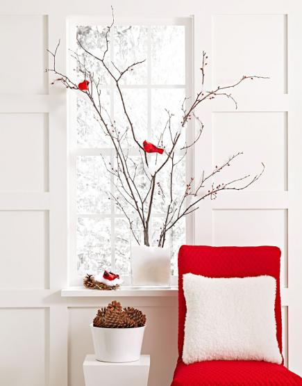 Simple branches With Red Accents #Christmas #Christmasdecor #nature #natural #natureinspired #decorhomeideas