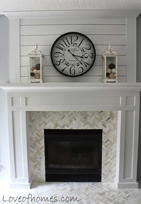Small tiles fireplace makeover #fireplace #fireplacedesign #tile #fireplacetile #decorhomeideas