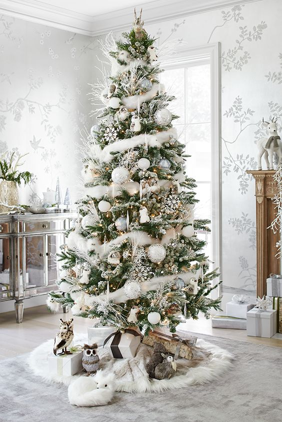 Snow White Christmas Tree #Christmasdecor #Christmas #white #whitechristmas #decorhomeideas