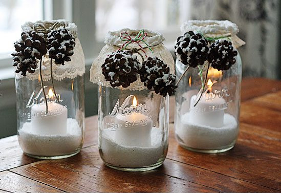 Snowy Pinecone Candle Jars #winterdecor #homdecor #winter #decorhomeideas