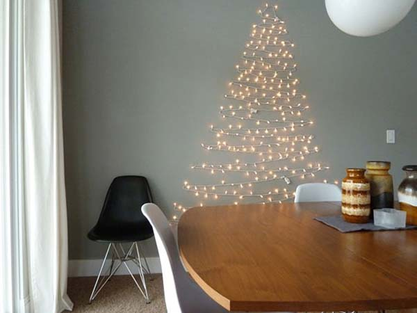 String Lights Christmas Tree #Christmas #Christmastree #homemade #DIY #Christmasdecor #decorhomeideas