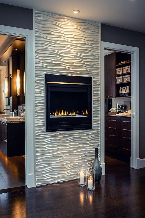 Super Modern Fireplace With Tiles #fireplace #fireplacedesign #tile #fireplacetile #decorhomeideas