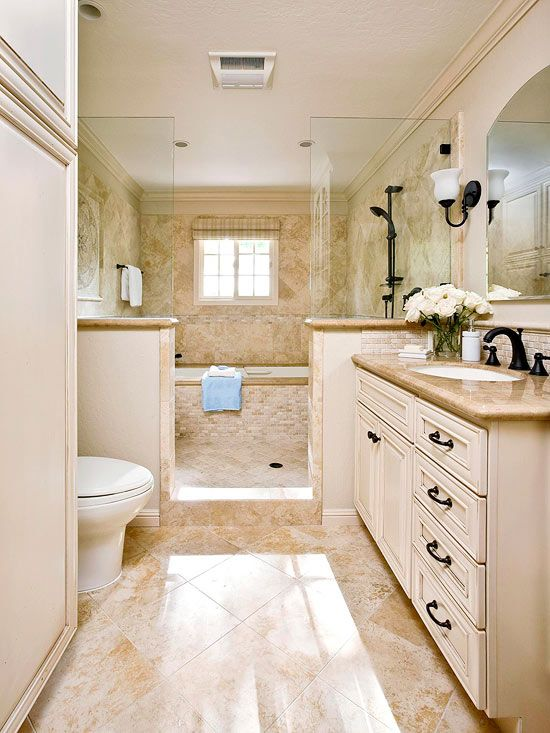 Traditional narrow bathroom design #bathroom #narrow #narrowbathroom #decorhomeideas