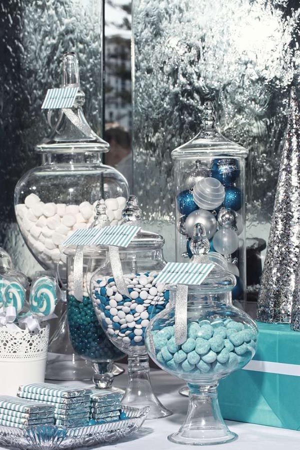 Turquoise candies #Christmas #Christmasdecor #blue #silver #turquoise #decorhomeideas