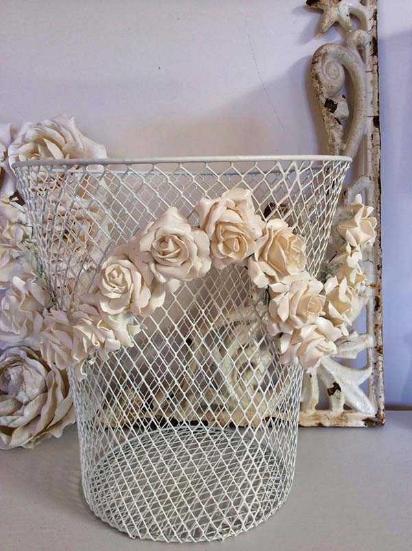 Vintage Basket Plaster Dipped Flower Decor