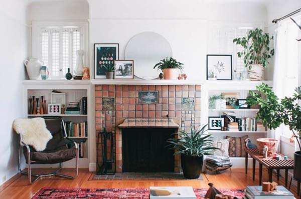 Vintage Styled Fireplace With Tiles #fireplace #fireplacedesign #tile #fireplacetile #decorhomeideas