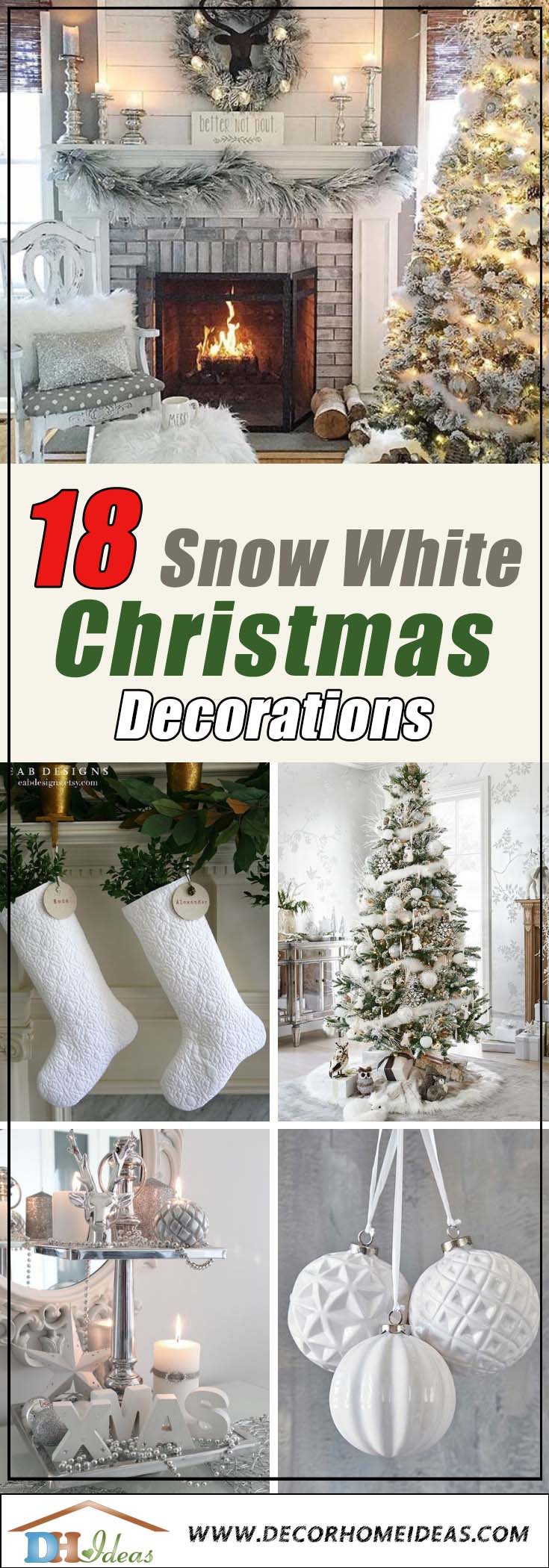 White Christmas Decoration #Christmasdecor #Christmas #white #whitechristmas #decorhomeideas