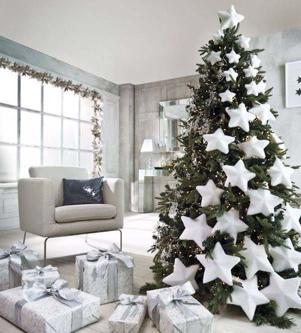 White Stars Christmas Tree Decoration #Christmasdecor #Christmas #white #whitechristmas #decorhomeideas